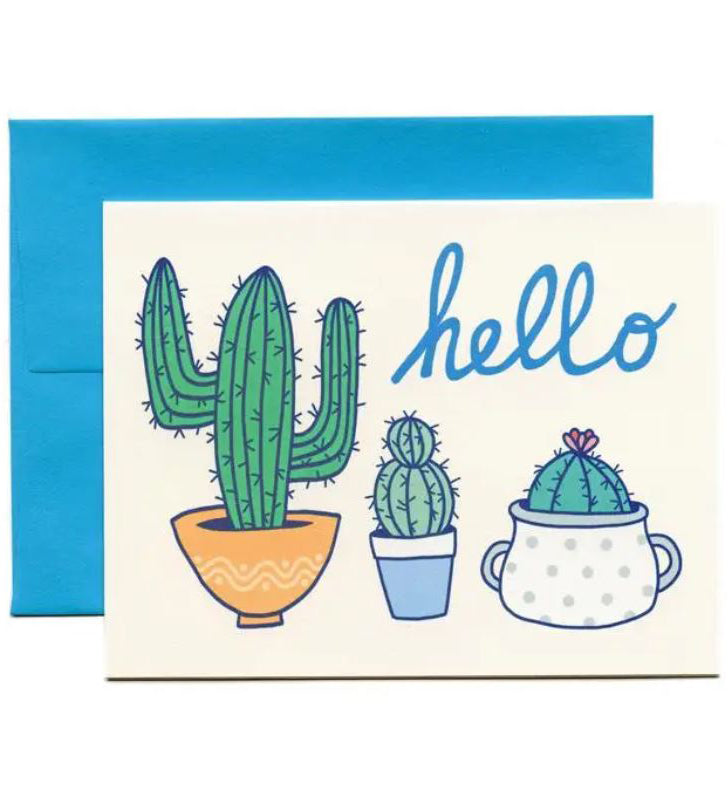 Cactus greeting cad with hello message