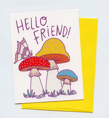 hello friend greeting card with mushrooms