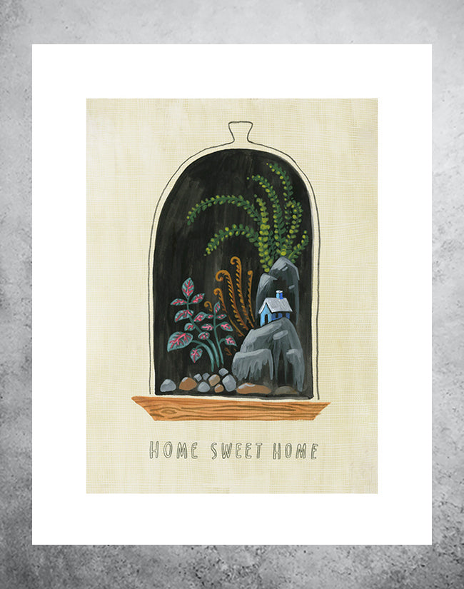 Art print of terranium with house