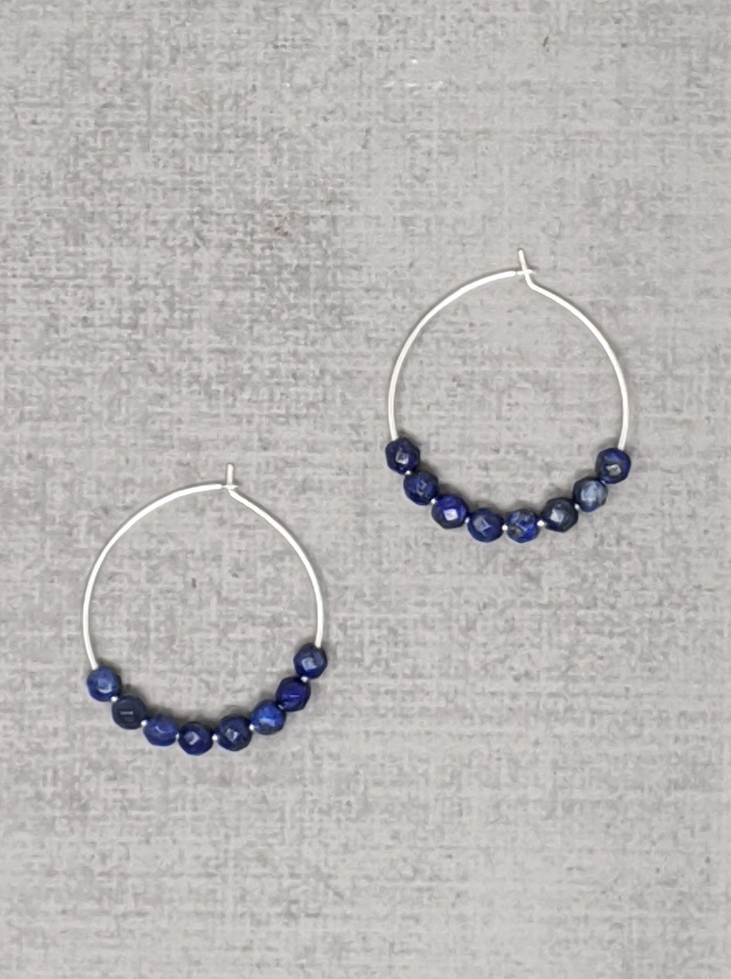 steriling silver lapis hoop earrings