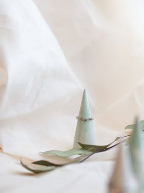 Mint green and white swirl concrete ring cone