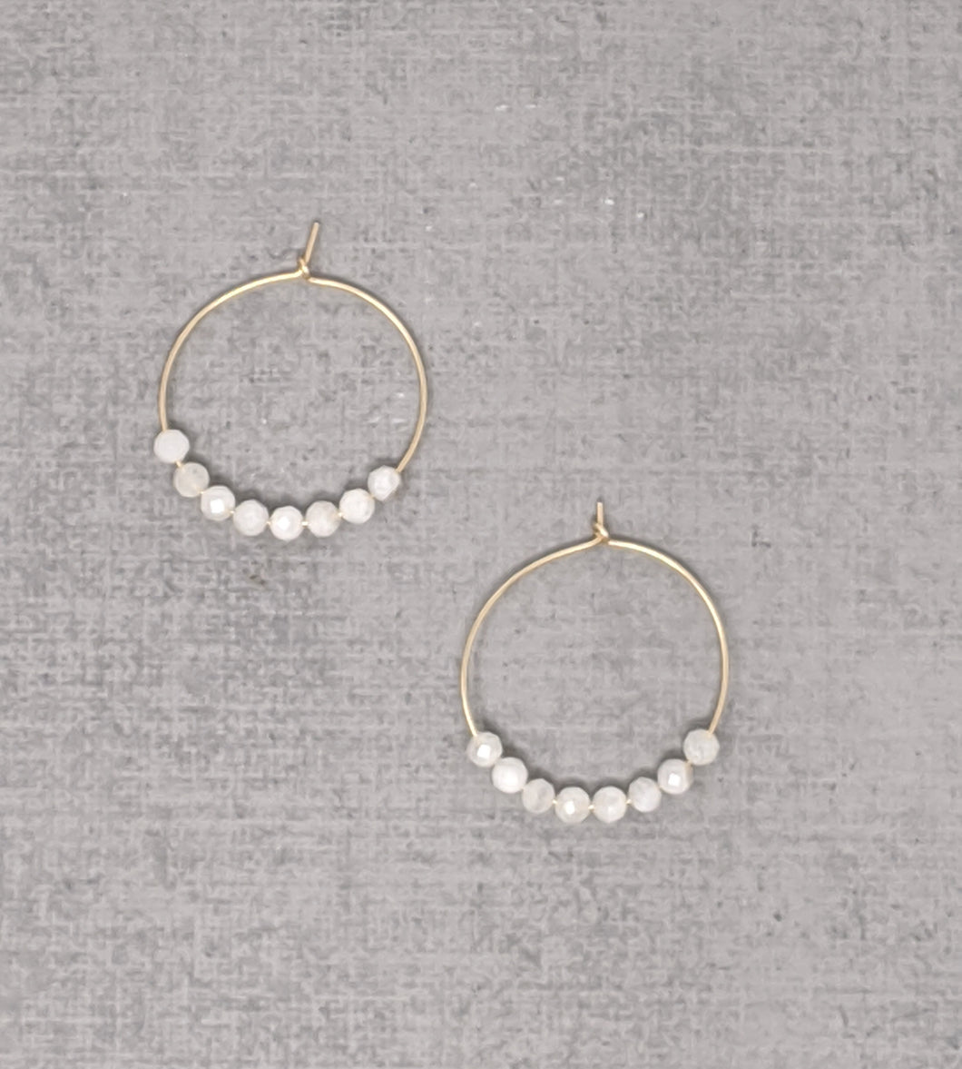 yellow gold fill moonstone hoop earrings
