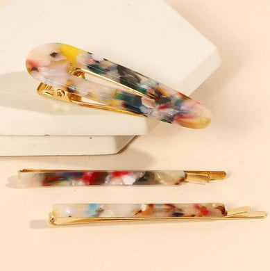 multi color acetate hair clips