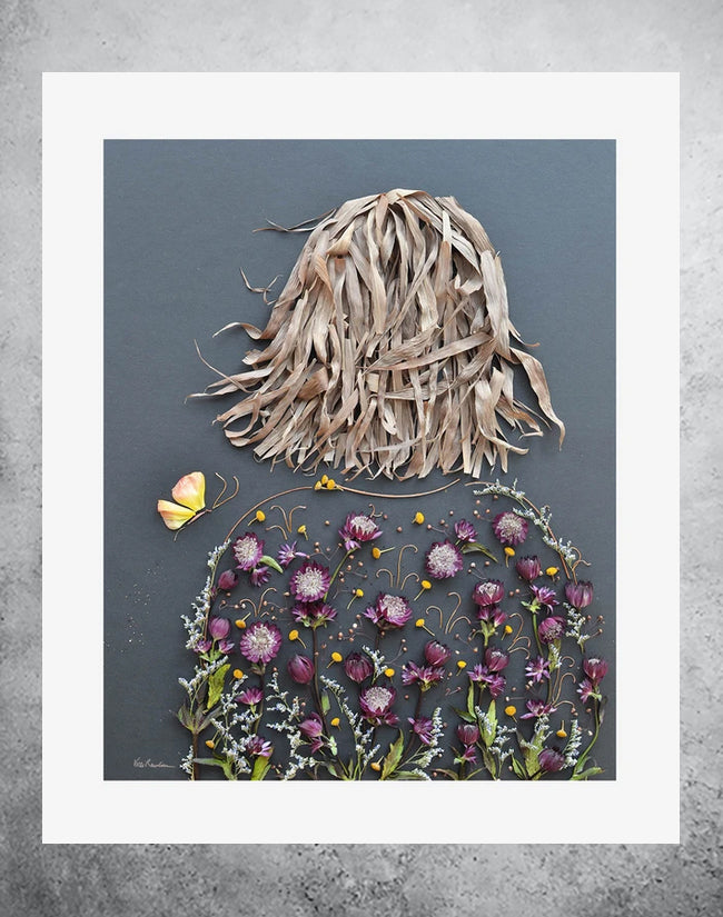 Botanical art print of girl with flowers