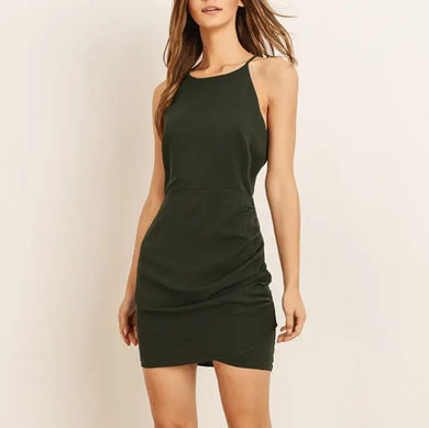 dark green halter cocktail dress