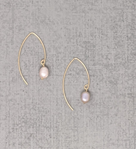 gold fill pink pearl earrings