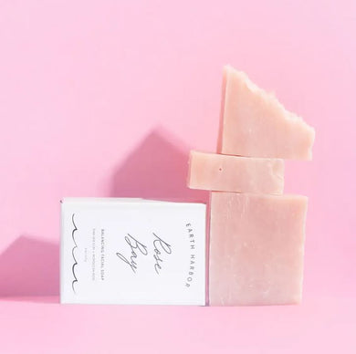 pink sea clay and rose vegan face soap bar