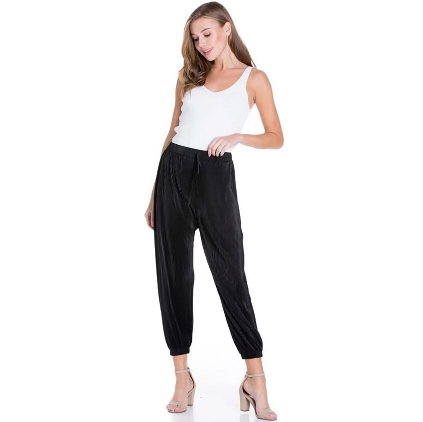 Black silk pleated jogger pants