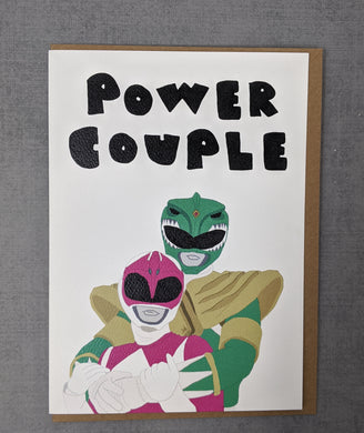power rangers engagement or wedding card