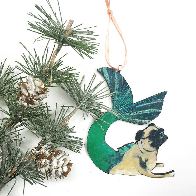 pug mermaid ornament