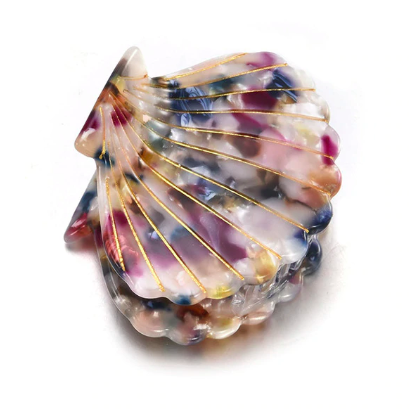 rainbow shell hair clips