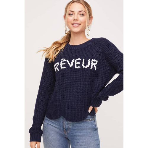 reveur cropped  navy sweater