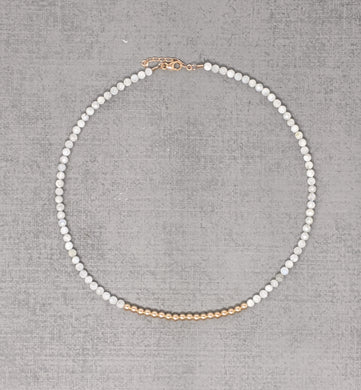 rose gold necklace with faceted moonstone