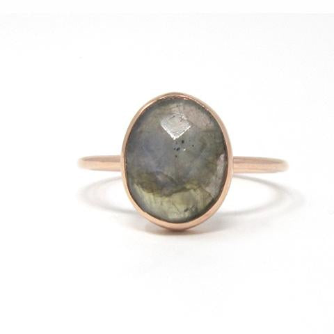 Rose gold oval labradorite ring