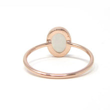 Rose gold oval moonstone ring