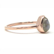 Rose gold pear labradorite ring