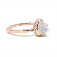 Rose gold pear moonstone ring
