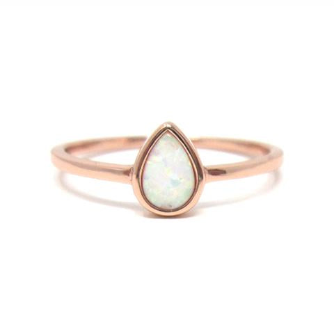 Rose gold pear opal ring