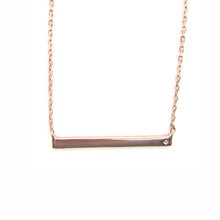 rose gold bar necklace with cz