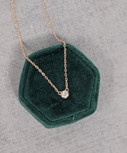 rose gold cz bezel necklace