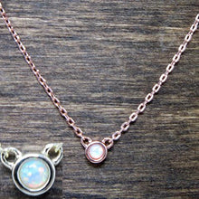 rose gold round opal necklace