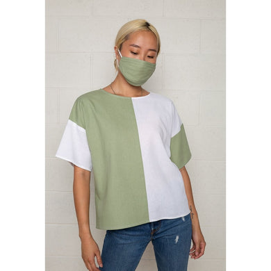 sage colorblock linen top