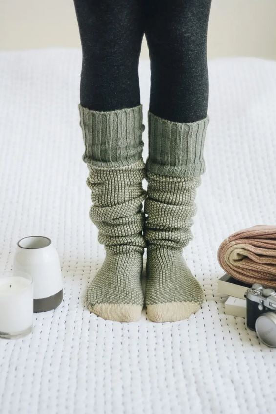 sage green cozy lounge socks