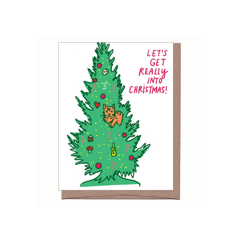 Scratch & Sniff Cat Tree Holiday Card