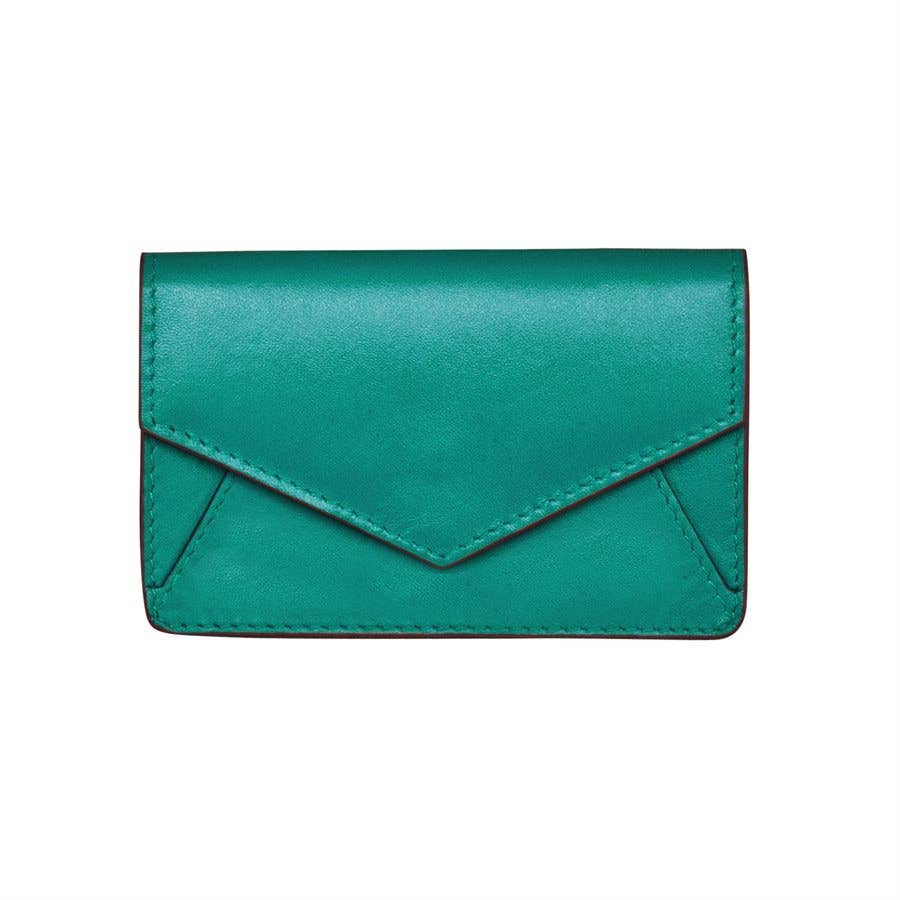 small aqua leather envelope wallet