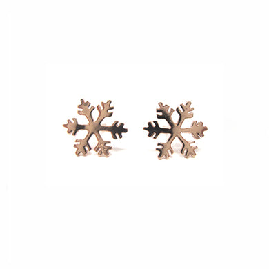 Rose Gold Snowflake Studs
