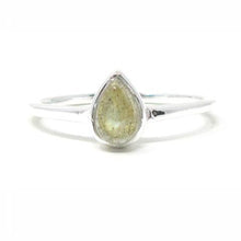 Sterling silver pear labradorite ring