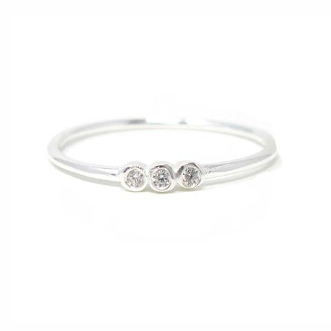 Sterling silver three stone ring with cubic zirconia