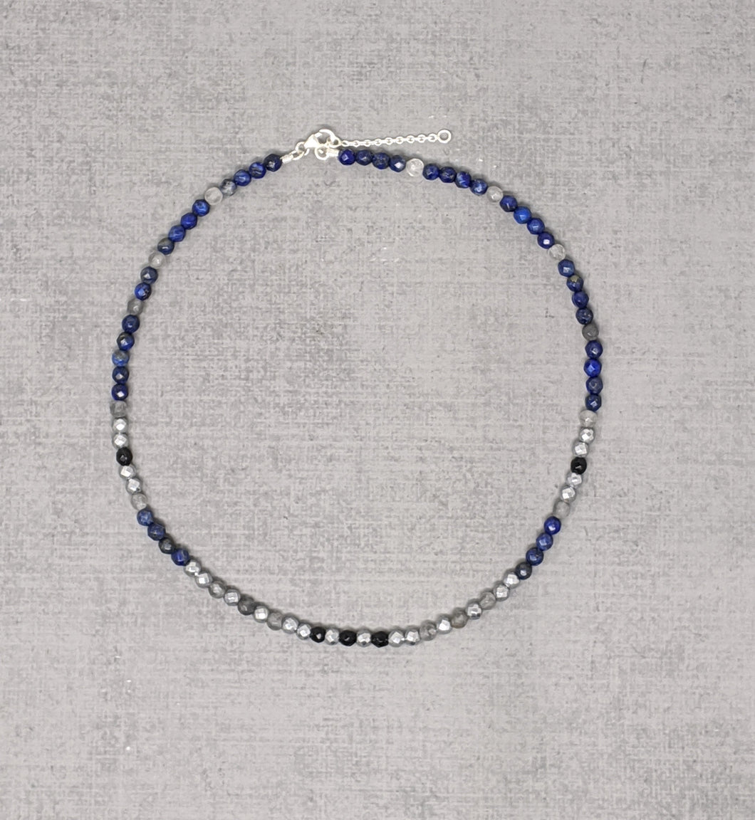 Sterling silver necklace with lapis, onyx, cloud quartz, and hematite
