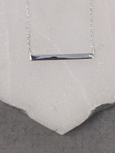 sterling silver bar necklace with cz