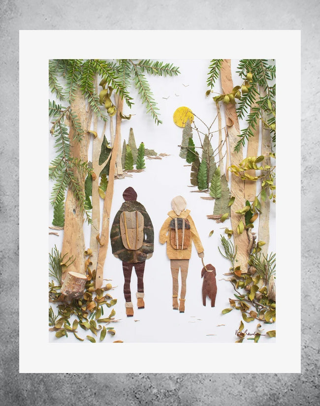 botanical art print of couple walking in nature with dog