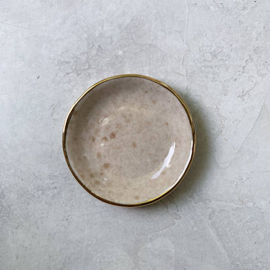 tan porcelain ceramic ring dish