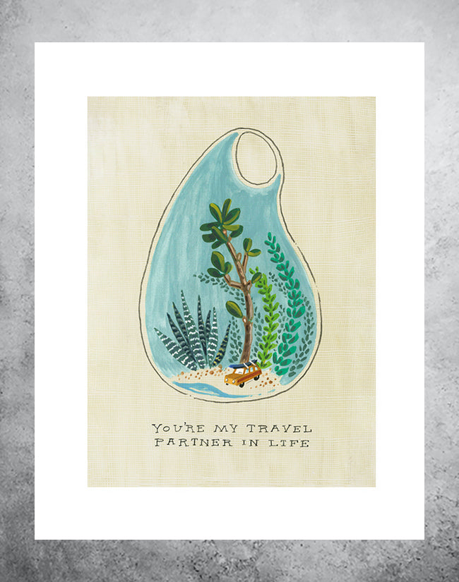art print of terranium with beach