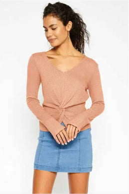 waffle knit twist front top in peach