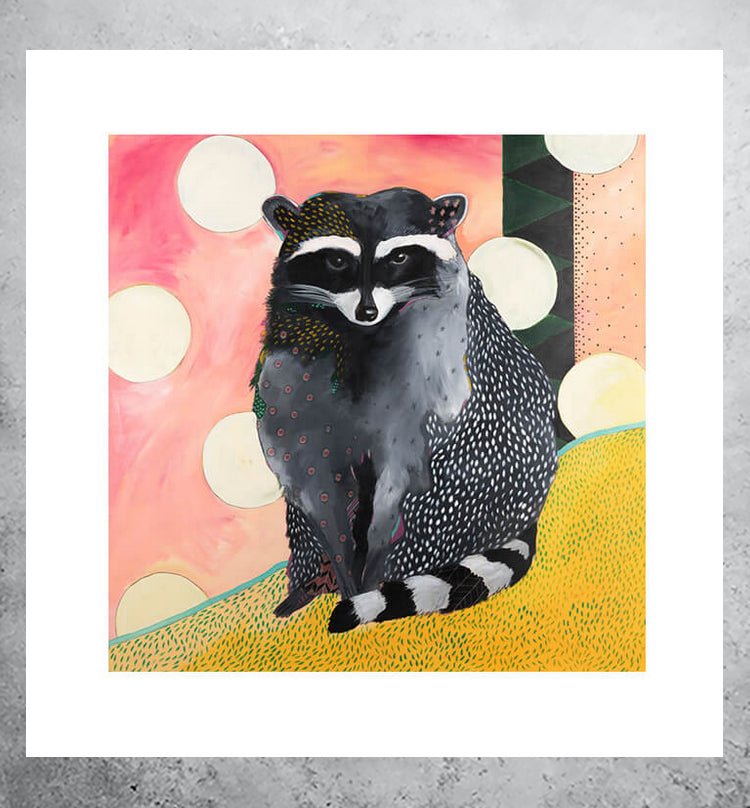 Neon art print of raccoon
