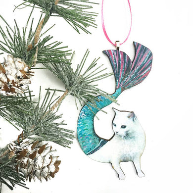 White Cat Holiday Ornament
