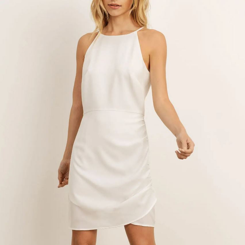 white halter mini dress