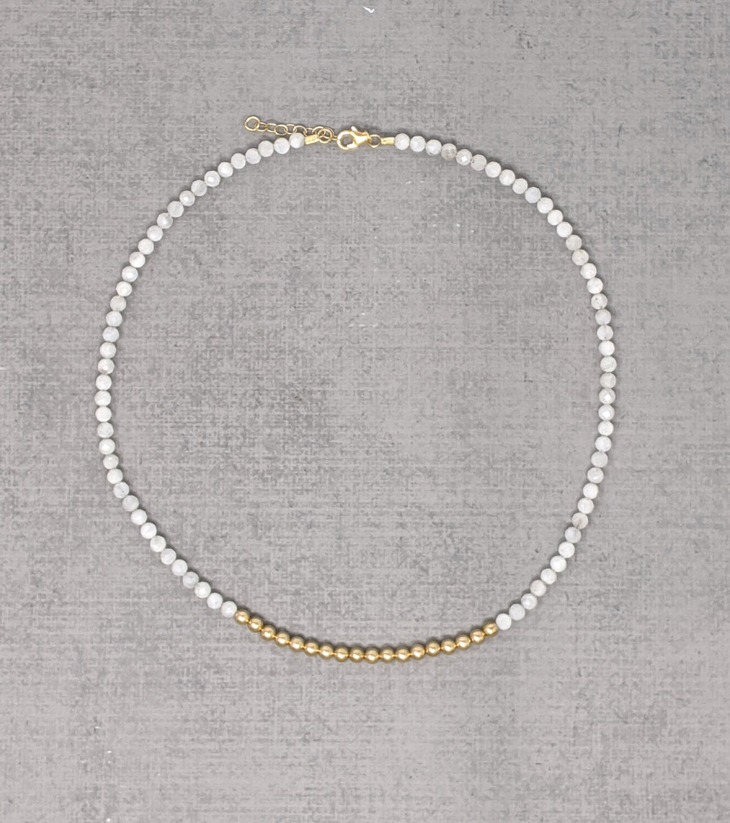 yellow gold faceted moonstone necklace