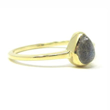 yellow gold pear labradorite ring