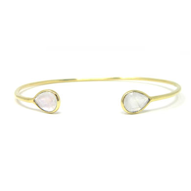 yellow gold pear moonstone cuff bracelet