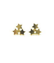 yellow gold star cluster stud earrings