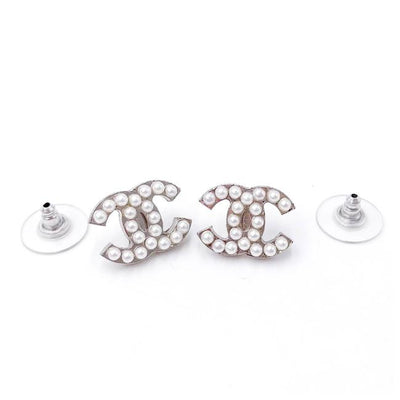 Chanel Silver Pearl Cc Earrings
