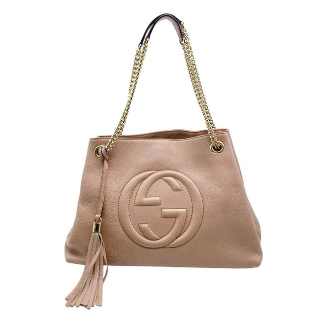 Gucci Soho Chain Medium Light Rose Beige Leather Shoulder Bag