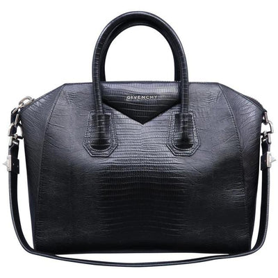 Givenchy Medium Antigona Croc Embossed Black Calfskin Leather Satchel