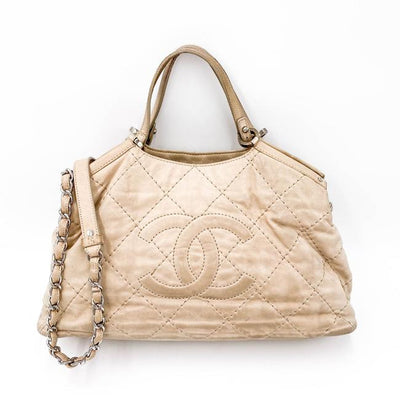 Chanel Iridescent Quilted Small Sea Hit Beige Calfskin Leather Tote