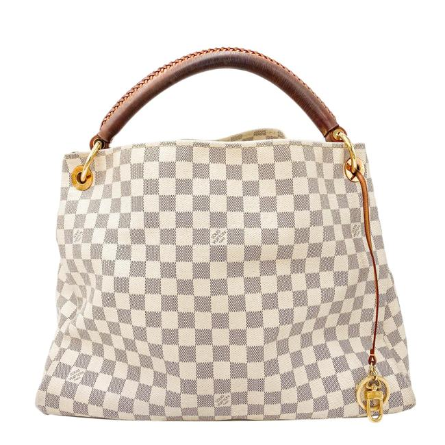 Louis Vuitton Artsy Damier Azur Mm White Coated Canvas Shoulder Bag